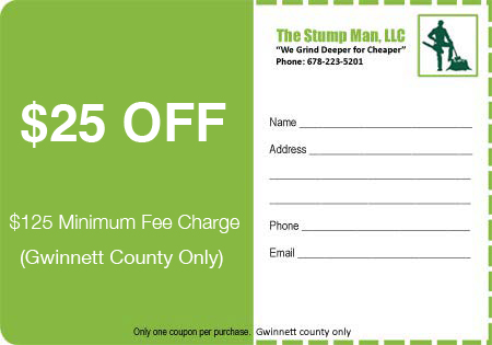 Discount Coupon Stump Removal Service Stump Grinding Service Atlanta Georgia